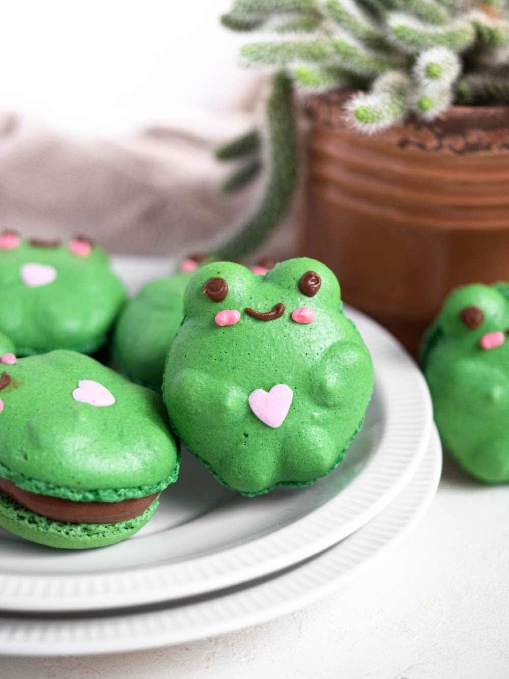 Tiktok Frog Froggie Macarons with easy chocolate buttercream