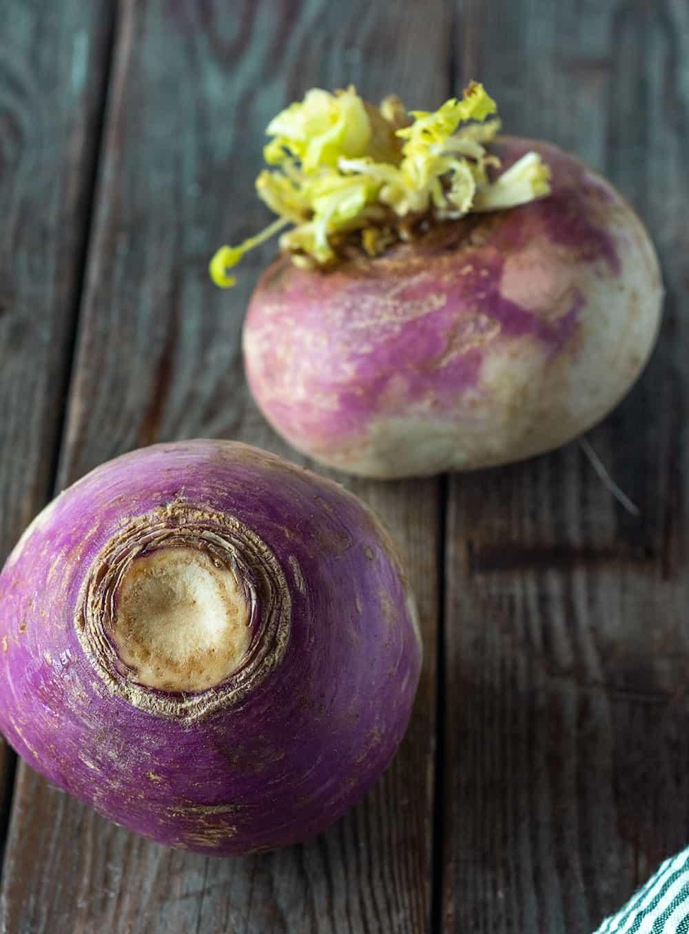 2 turnips with purple and white skin to make turnip fries