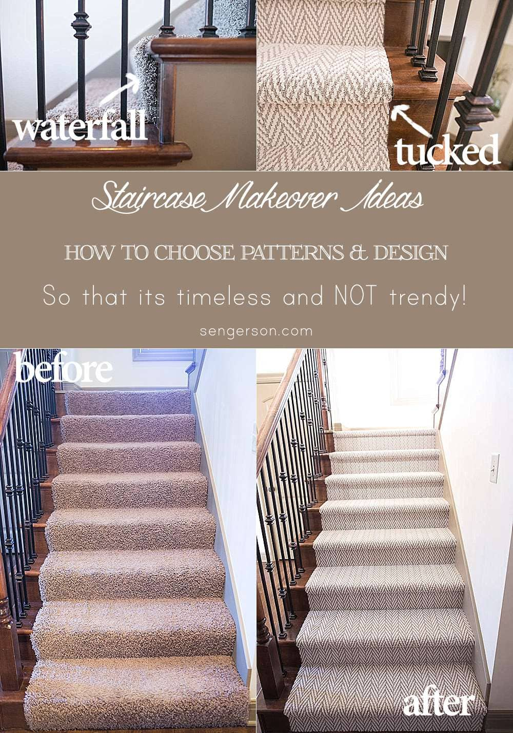 Tips on renovating your staircase into Hollywood carpet stairs featured by top US lifestyle blogger, Sengerson