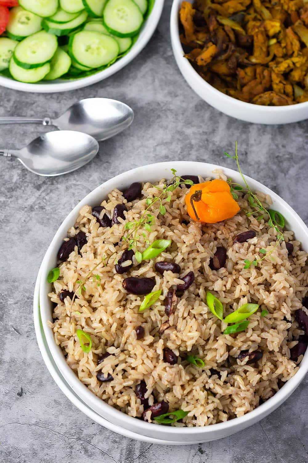 Jamaican Rice And Peas in a blue bowl