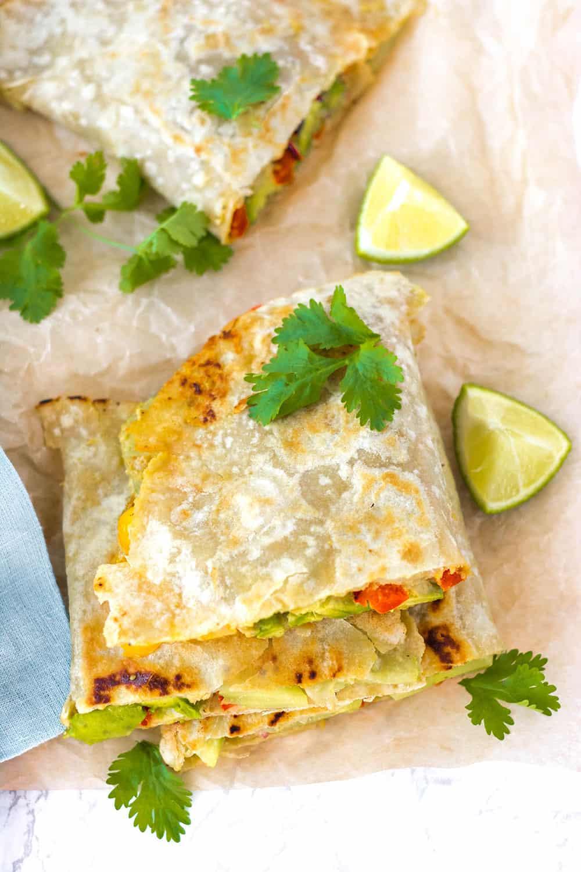 Vegan Quesadillas With Hummus And Vegetables