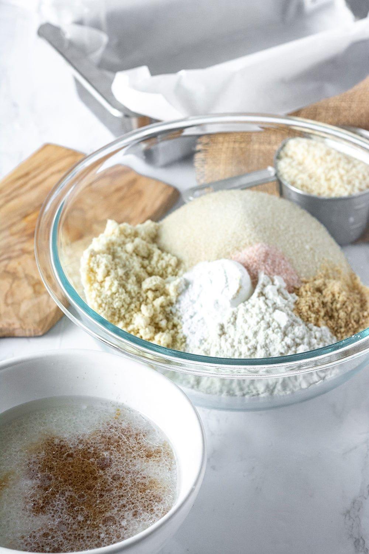 Ingredients for vegan coconut bread