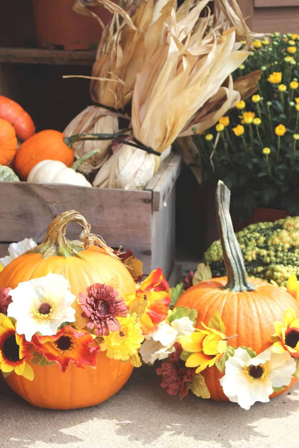 Get creative with your fall front porch decor this year. These festive no-carve flower pumpkins are so pretty and so easy to make. These pumpkin flower arrangements are so welcoming. #nocarvepumpkin #flowerarrangement #pumpkincraft