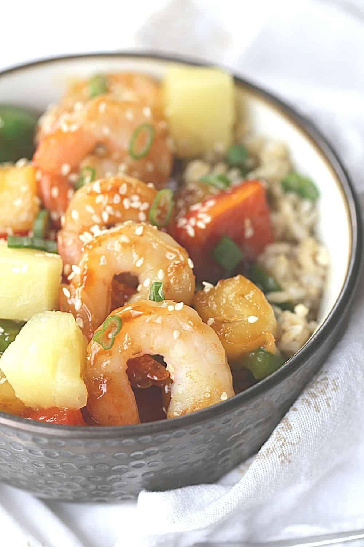 Easy Hawaiian Shrimp Rice Bowl
