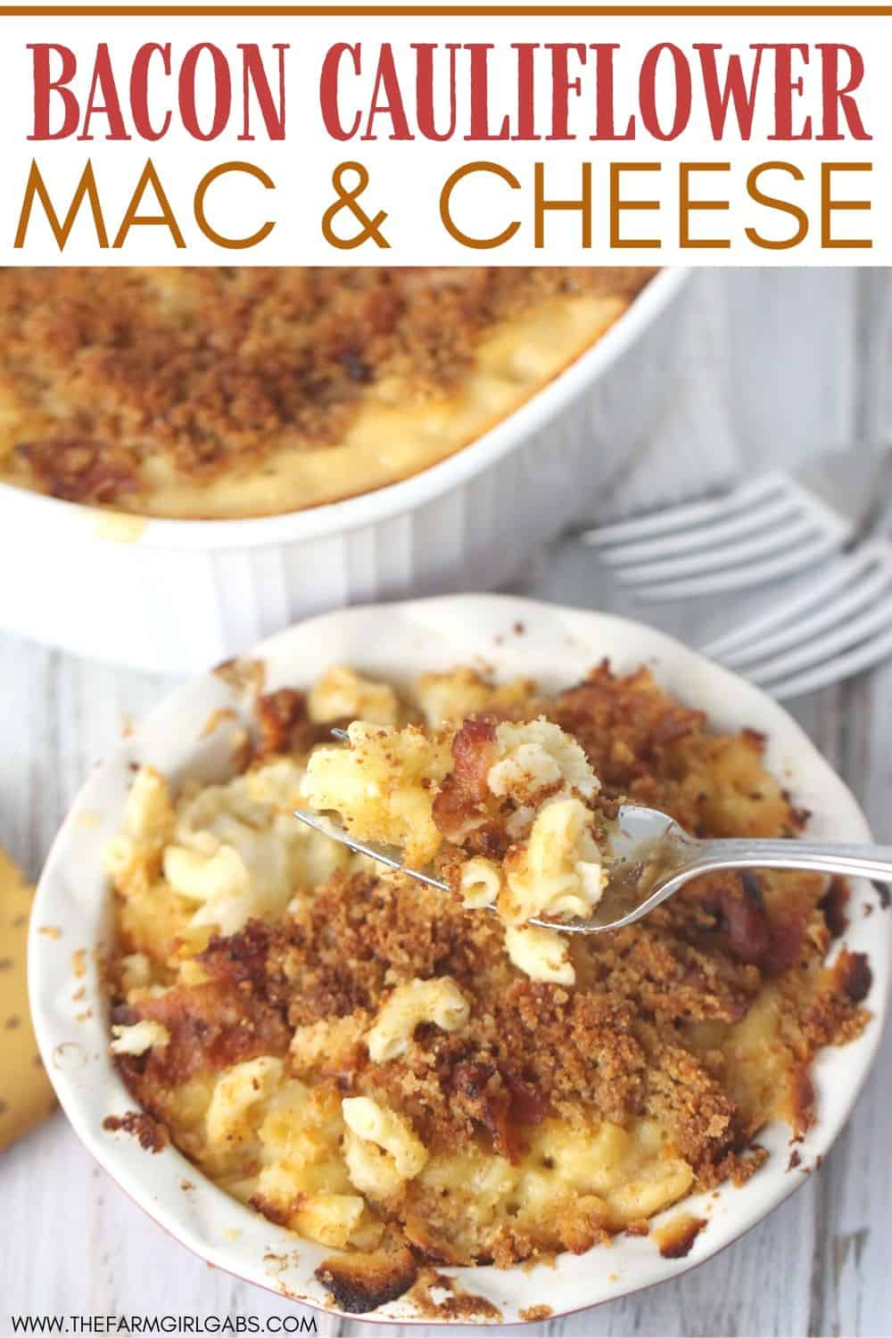 Bacon Cauliflower Macaroni and Cheese is the ultimate comfort food. Creamy macaroni and cheese are mixed with flavorful bacon and farm fresh cauliflower.