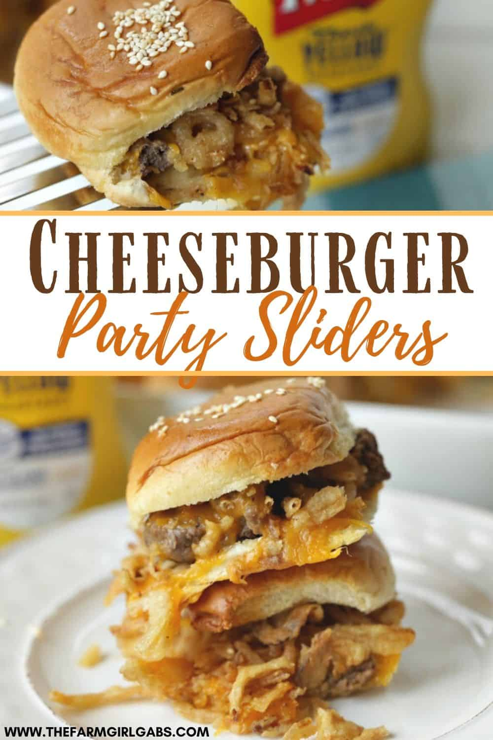 It's not a game day party without the food. These Cheeseburger Party Sliders are the perfect game day recipe. Score a touchdown with friends and family with this easy slider recipe. #Sliders #Cheeseburger #footballfood #GameDayRecipe #PartyRecipe #Superbowlrecipe