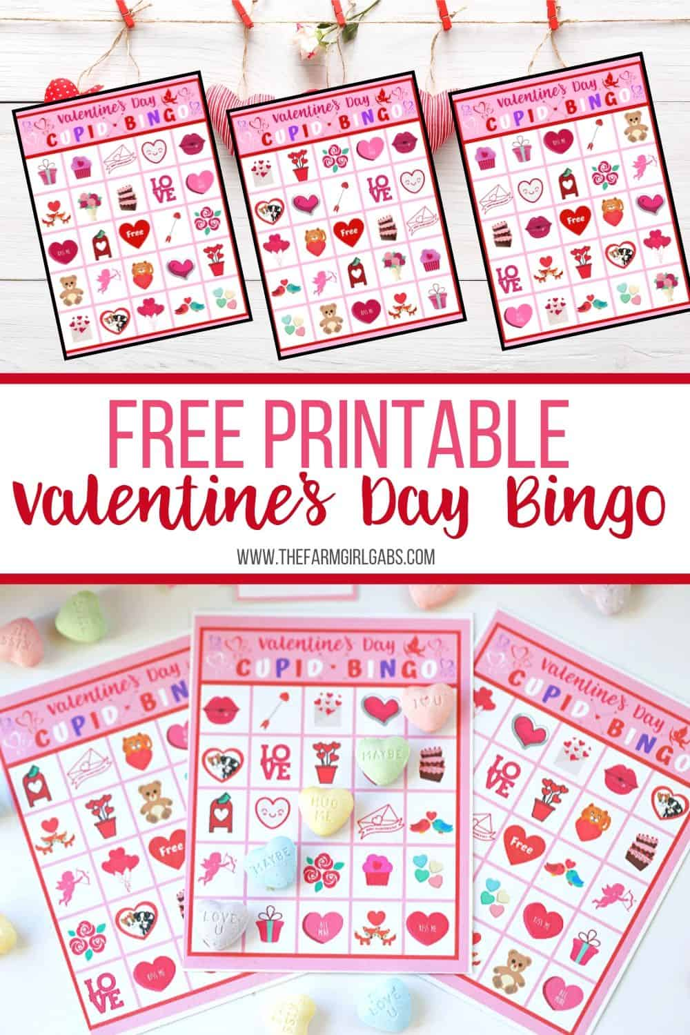 These free Valentine's Day Bingo cards are perfect for kids to play at home or classroom parties. Download these bingo cards today for some Valentine's Day fun! Download and print out this fun Valentine bingo game for hours of fun. #bingogame #valentinebingo #valentinesdaycraft #valentinesdayprintable