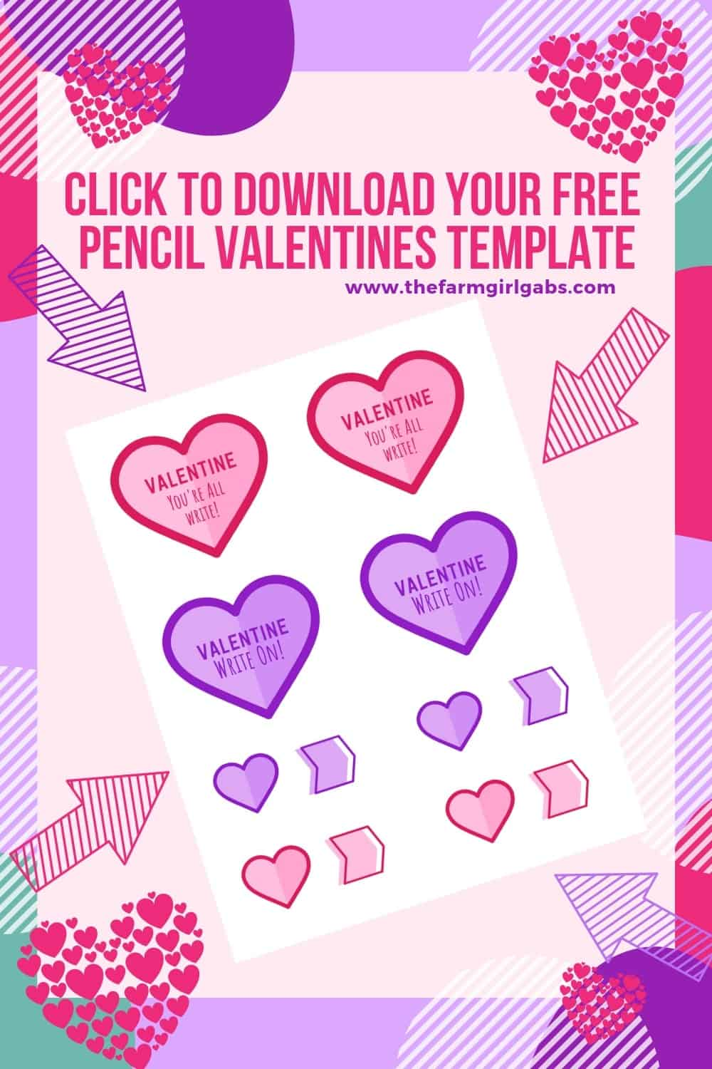 Tell your Valentines they are all right (or is it write?) with these adorable Cupid's Arrow Printable Pencil Valentines.