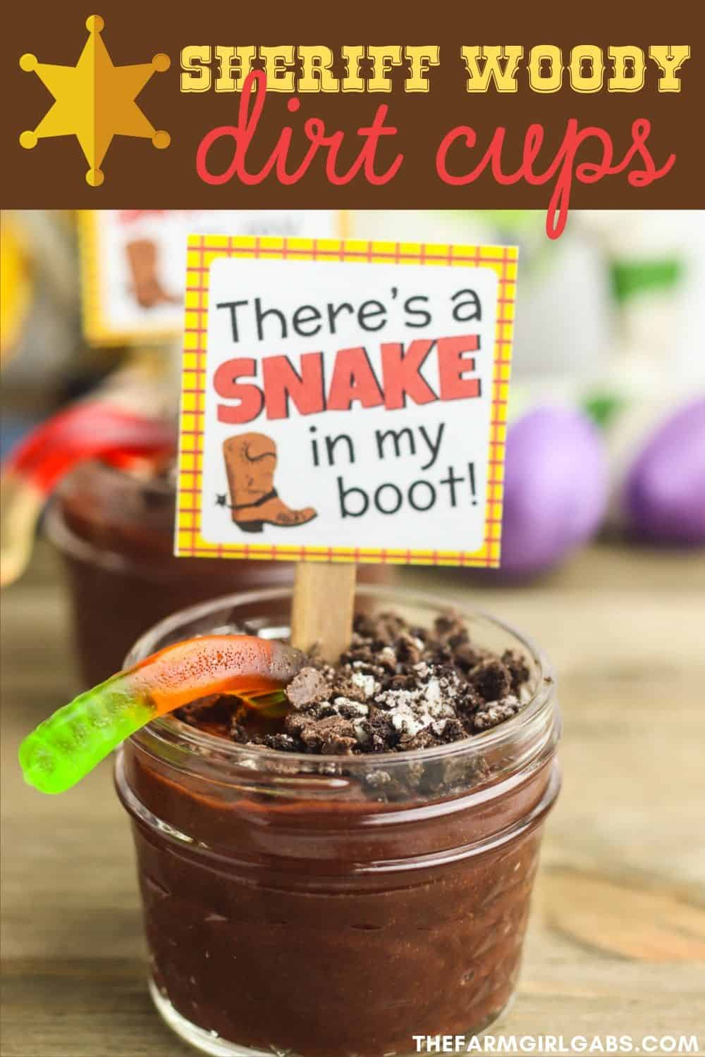 Hey howdy hey! Need some fun Toy Story Party Ideas? These Sheriff Woody Dirt Cups will be a big hit at your next birthday party. Check them out plus these other fun Toy Story Birthday Party ideas. #toystory #toystorypartyideas #toystorybirthdayparty #pixarparty #disneytips #dirtcups