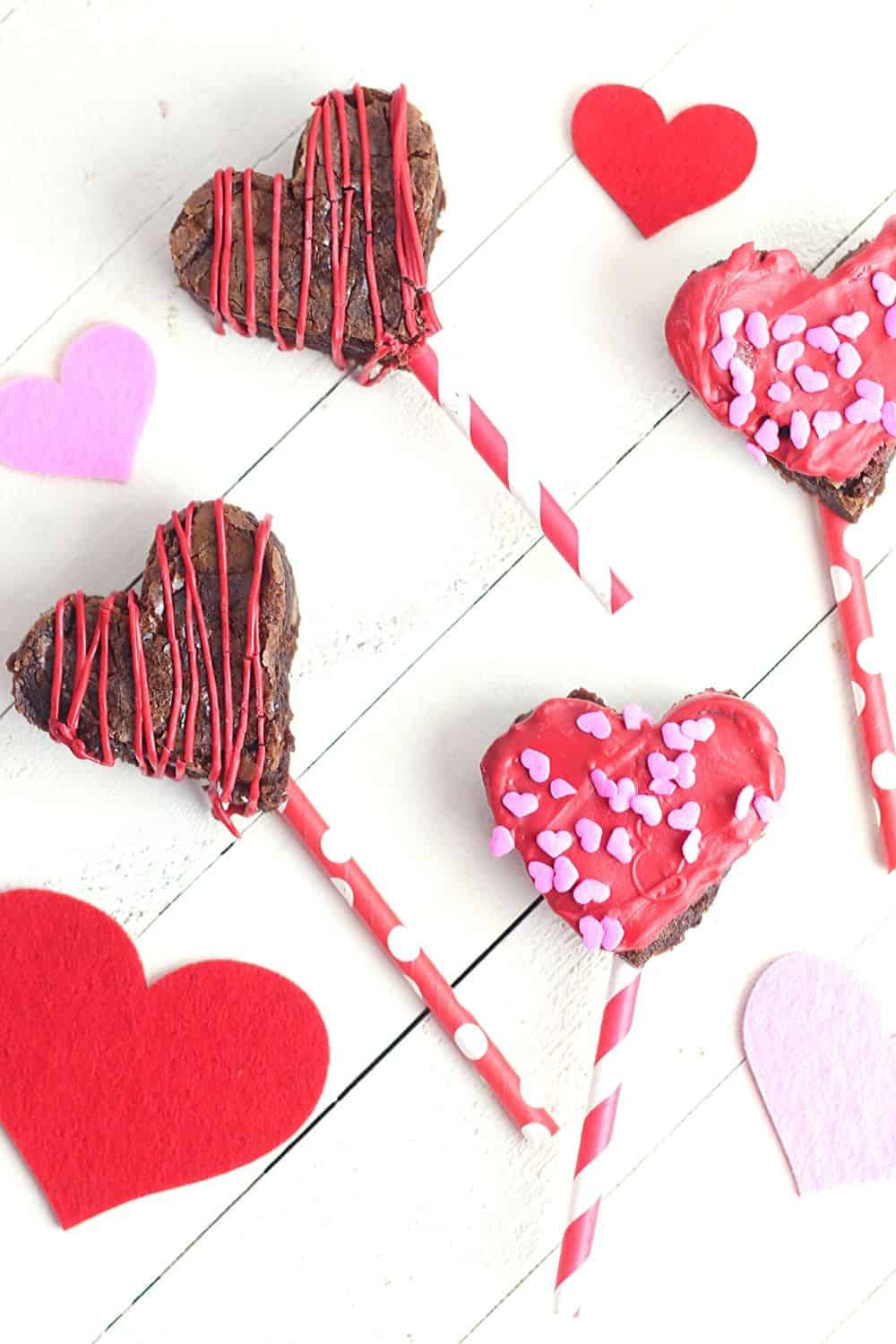 These heart-shaped Valentine Brownie Pops are an easy holiday treat. They are an easy dessert to make for Valentine's Day or all year long.