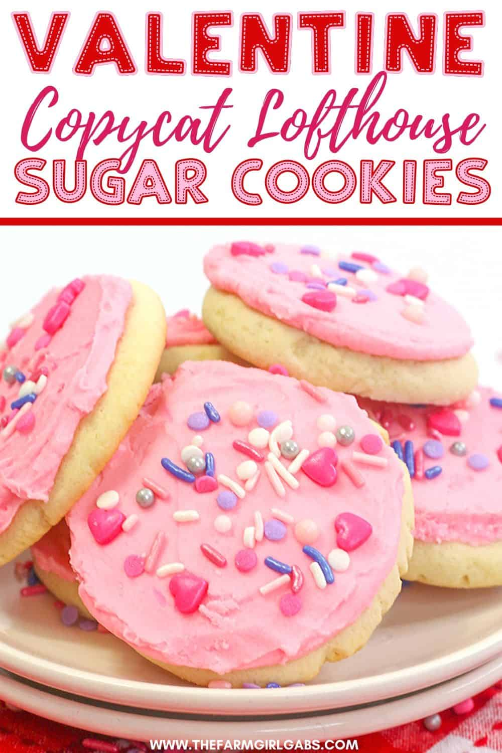 These soft and buttery Valentine Lofthouse Sugar Cookies are the perfect sweet treat. These sour cream cookies are topped with sweet frosting and sprinkles. This is an easy sugar cookie recipe that requires no rolling. You can make them for any season or holiday by just changing the color of the frosting. #sugarcookies #lofthousecookies #valentinesdayrecipe #partyidea