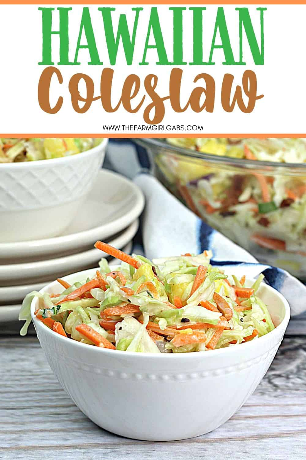 This Hawaiian Coleslaw recipe (or pineapple slaw) is zesty, crunchy and balanced with sweet pineapple flavor. This easy slaw recipe is a tasty twist on the classic coleslaw.
