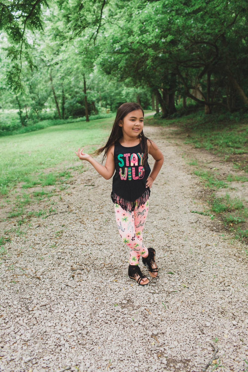 Fringe stay wild shirt with jungle themed leggings and fringe shoes! Super cute and adorable for eight year old girls.