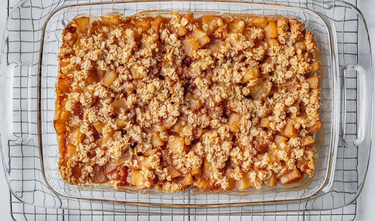 Healthy Apple Crisp in baking dish