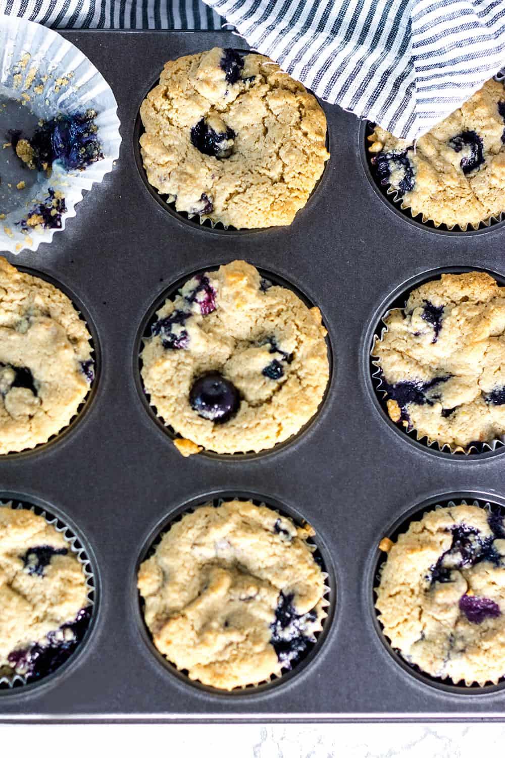 Vegan Blueberry Muffins overhead shot