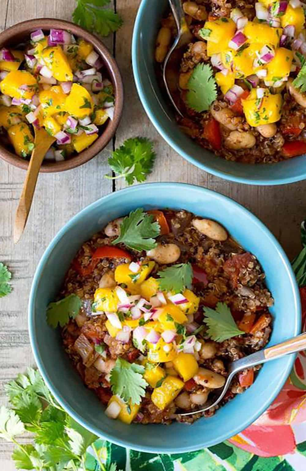 Jamaican Jerk Chili in 3 bowls