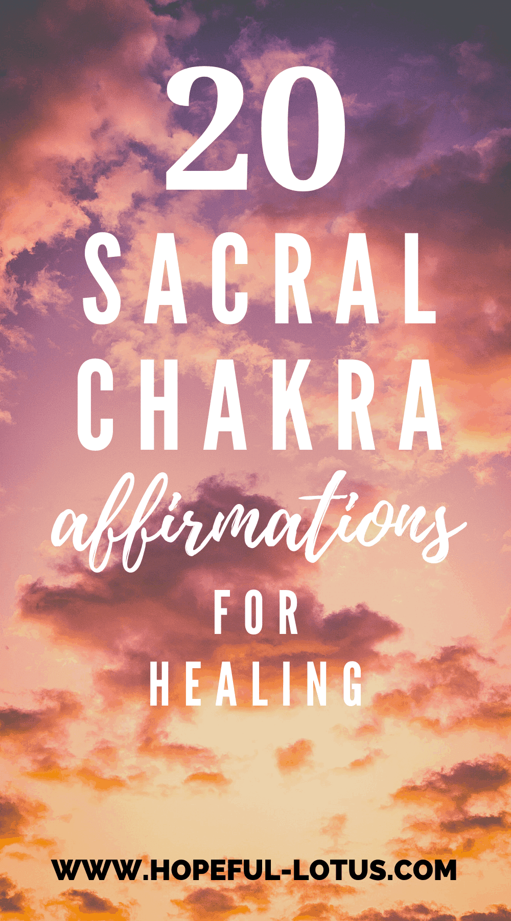 The sacral chakra is associated with sexuality, creativity and emotions. When there is a sacral chakra blockage, you might experience unpleasant symptoms in these areas. These sacral chakra affirmations can be used to help unblock a sacral chakra imbalance. Repeat these mantras daily to experience the healing benefits!