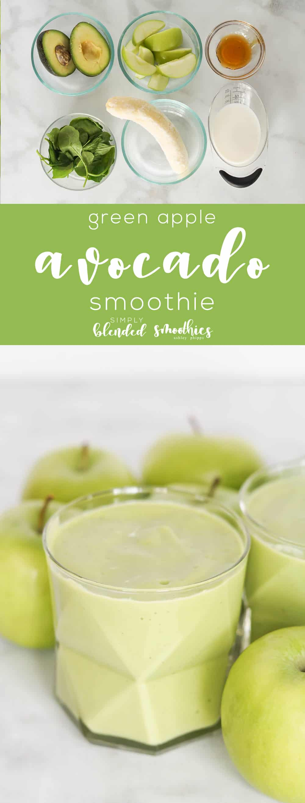Green Apple and Avocado Smoothie - this deliciously smooth and tart smoothie