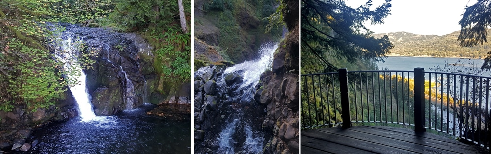 Various photos from Upper Multnomah Falls and the Columbia River Gorge from the Upper Multnomah Falls viewing deck