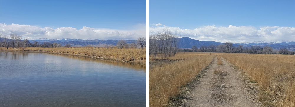 Trails and lake near Teller Farm South Trailhead in Boulder, Colorado