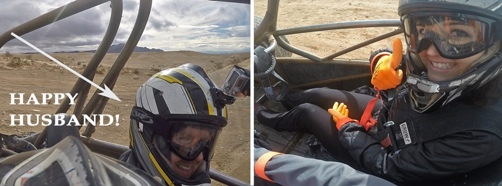 Photos of Brooke and Buddy from their GoPros during their Dune Buggy Chase