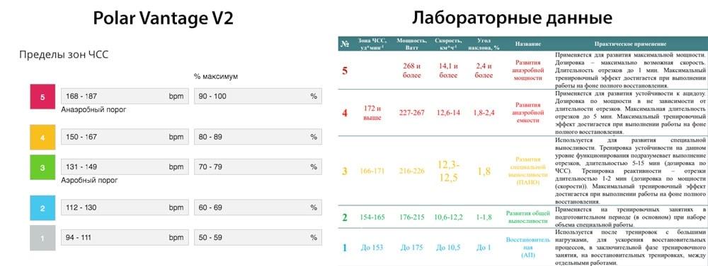 Сравнение данных по пульсовым зонам Polar Vantage V2 Running Test и лабораторных данных