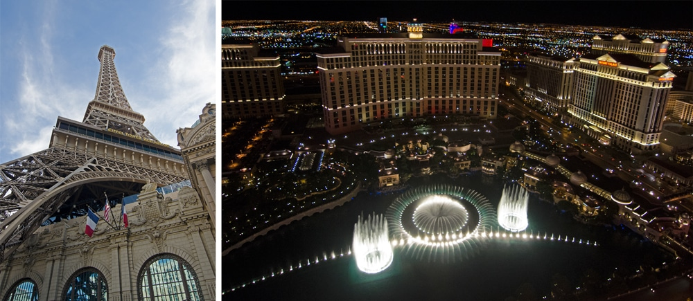 Las Vegas Eiffel Tower and view of the Bellagio Fountain from the top of the Eiffel Tower.