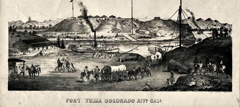 Lithograph from 1875 showing Colorado River at Yuma with horse-drawn covered wagon in the foreground.