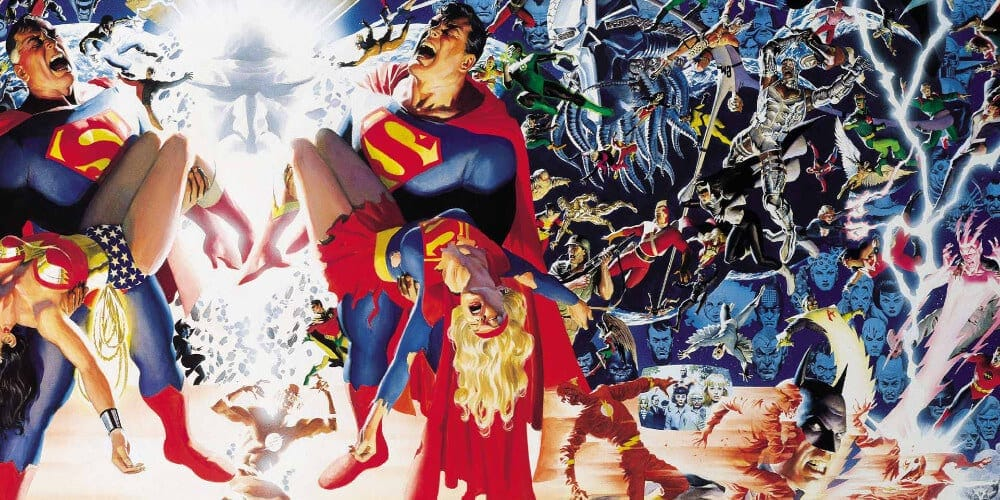 Cover Art for the original comic book crossover: Crisis On Infinite Earths.
