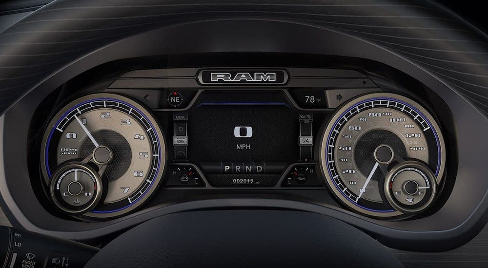The information cluster is shown on a 2020 Ram 1500, you'll see most of your RAM Check Engine Lights here.