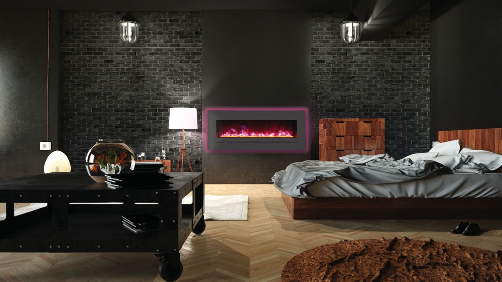 On wall mounted electric fireplaces