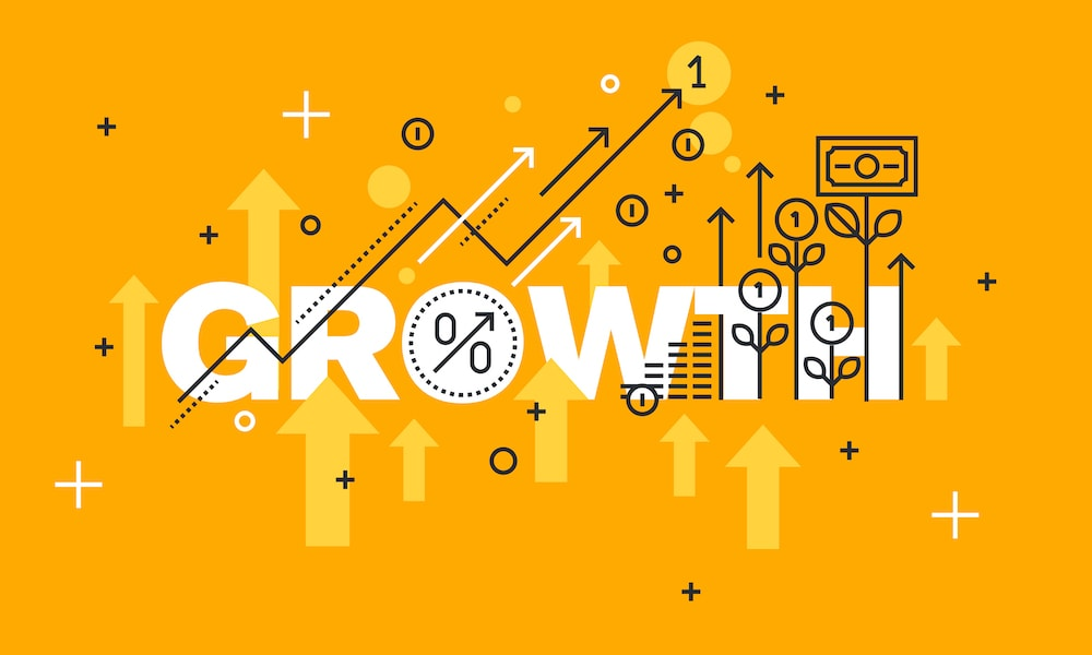 Graphic of upward trending arrows with the words growth on it.