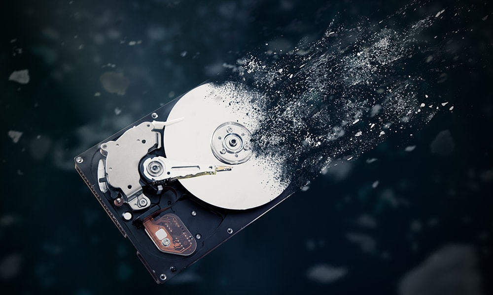 The old hard disk drive dissolves in space