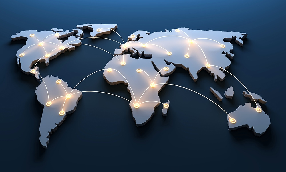 World map with networked countries