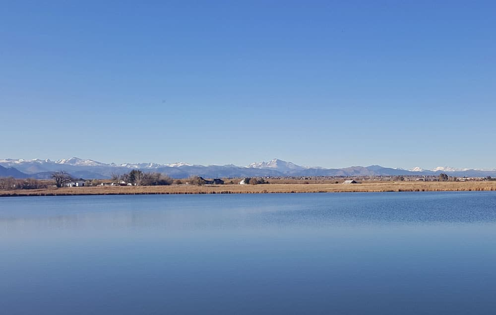 View of the Rocky Mountains across from Stearns Lake.