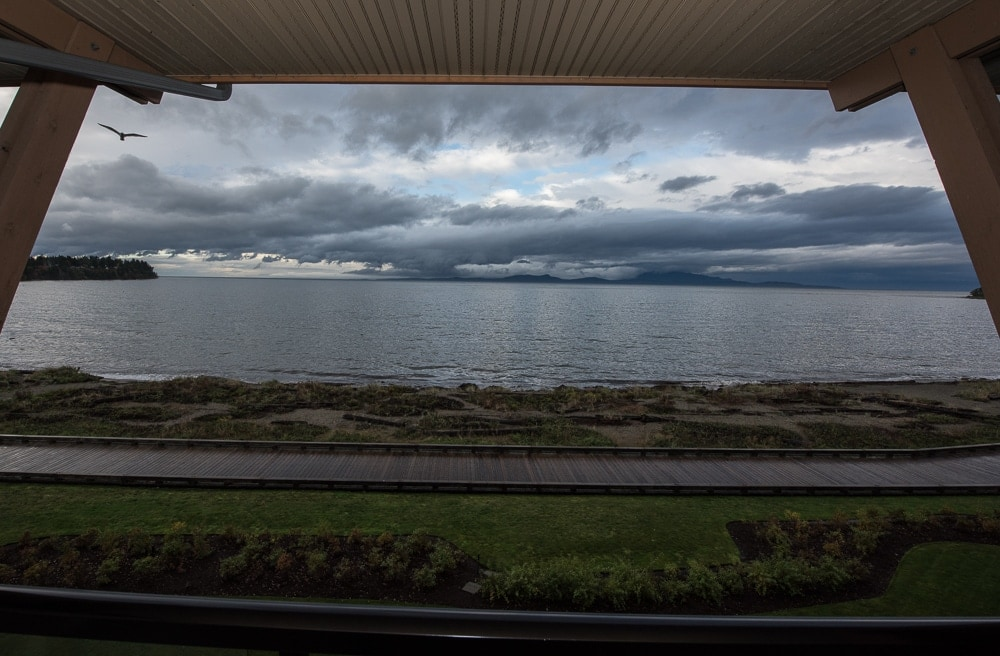 View out into the Straight of Georgia from the balcony of this parksville hotel