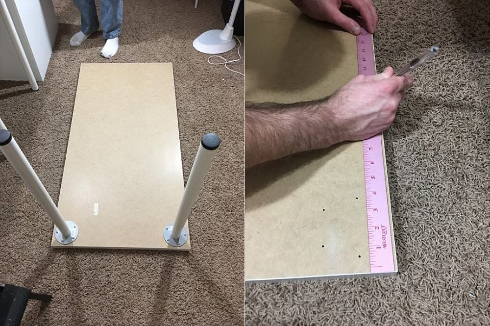 How to Drill a Hole in an Ikea Linnmon Table featured by top US DIY blogger, Sengerson