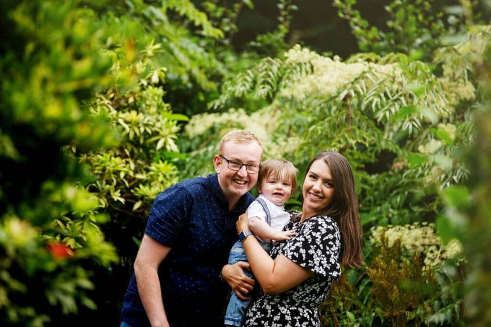 Laura & Liam with baby Henry at Walkden Gardens in Sale