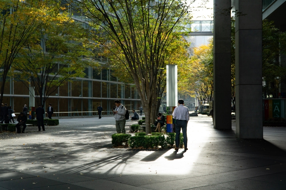 people standing between buildings under trees