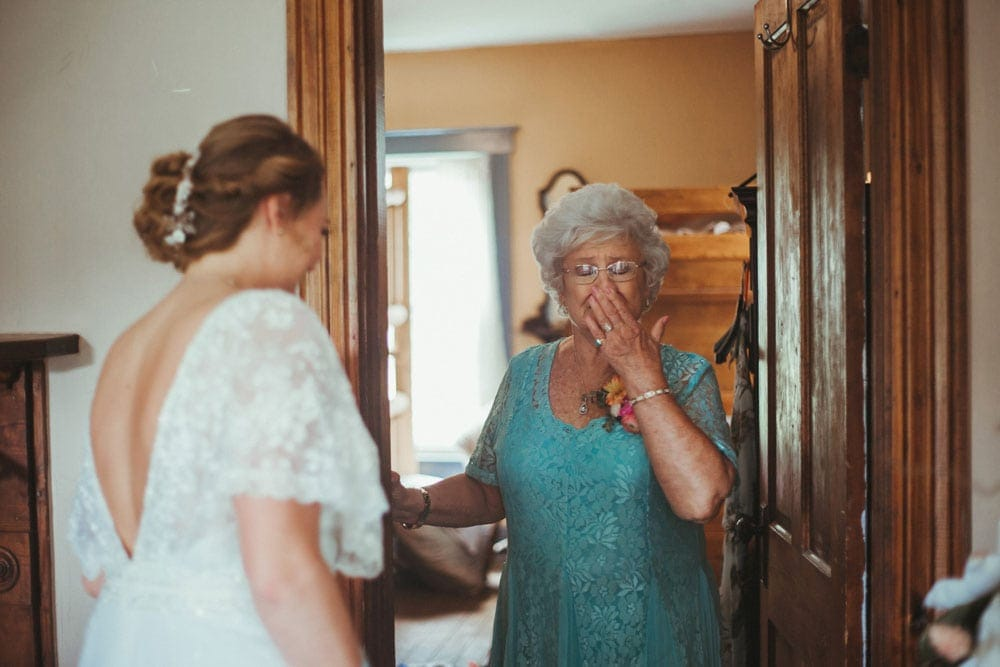 bride's grandmother seeing her for the first time
