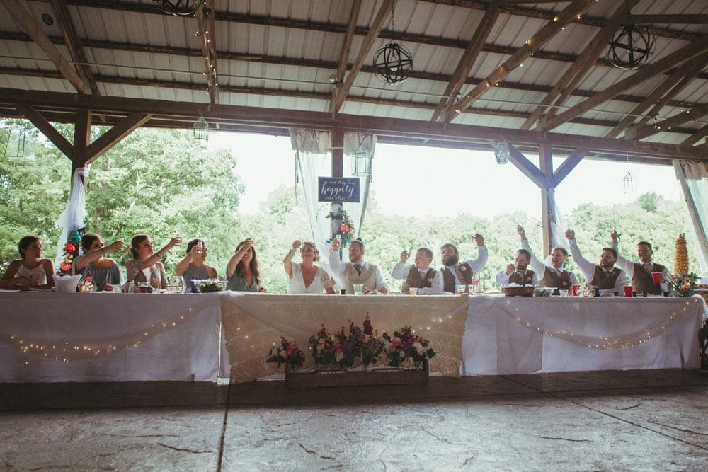 bridal party table and toast