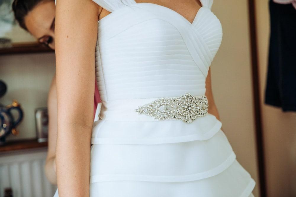 detail on the wedding dress