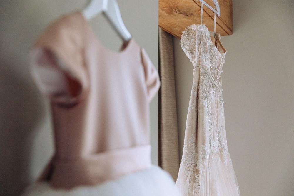 bridal dress and flower girl