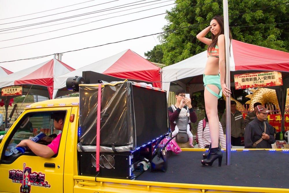 Dancing girl on truck, Yanshui parade