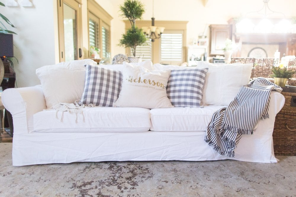Truth About White Slipcovered Sofa with Kids and Pets