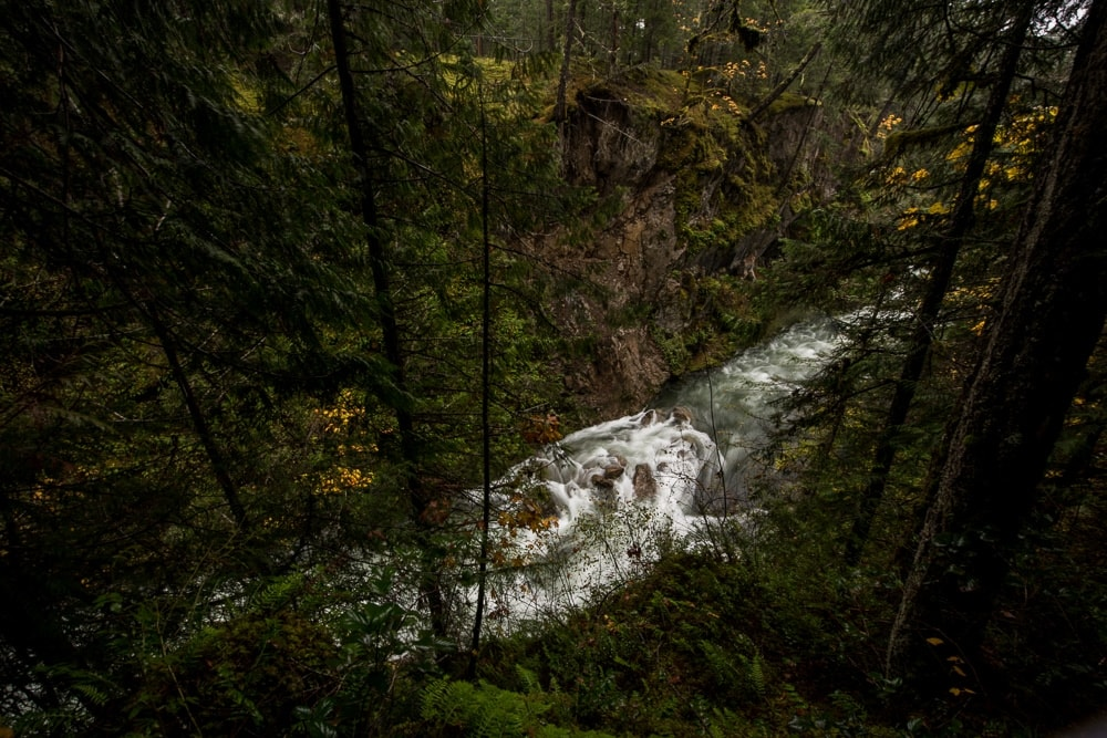 River flowing below the trail at Little Qualicum Falls
