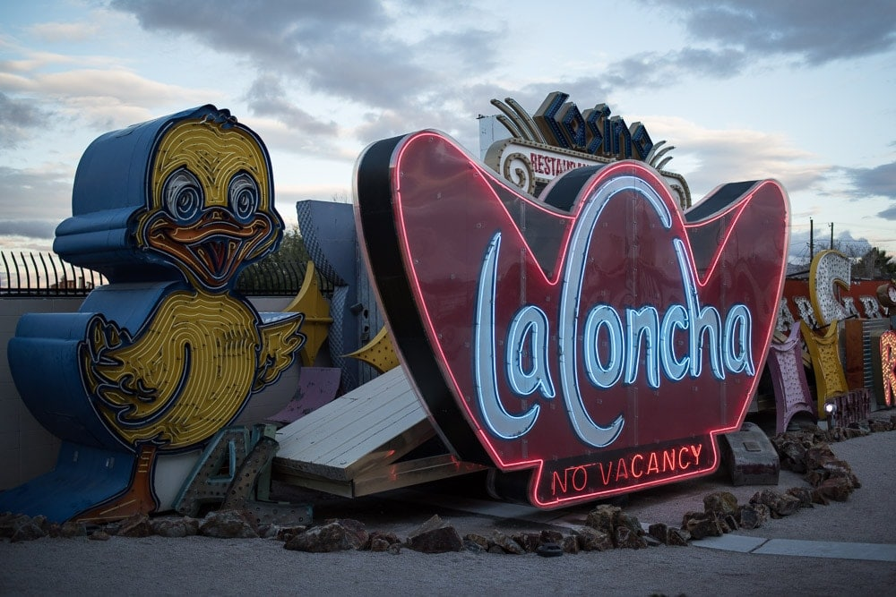 Giant Yellow Duck Neon Sign and LaConcha Hotel Neon Sign at the Neon Museum in Las Vegas