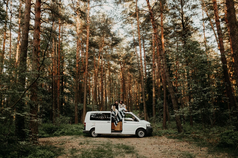 Comfortable van rides through forest