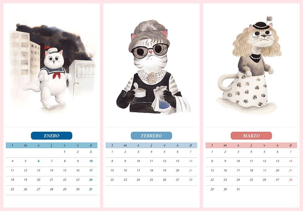 calendario de gatos 2021, ilustraciones de gatos, los cazafantasmas, Audrey Hepburn, Desayuno con diamantes, E.T. el extraterrestre, gatos de cine, Steven Spielberg,