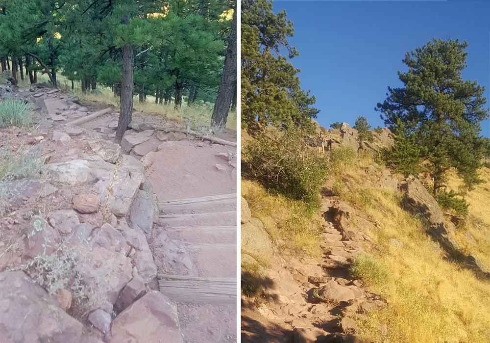 Mount Sanitas Trail showing some of the steps you will need to climb up